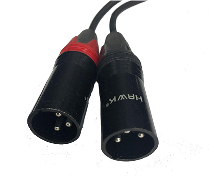 HAWK Y Cable 1/8 Inch TRS to Dual XLR Male Cable