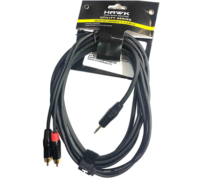 Hawk Y Cable 1/8 Inch TRS to Dual RAC Male Cable