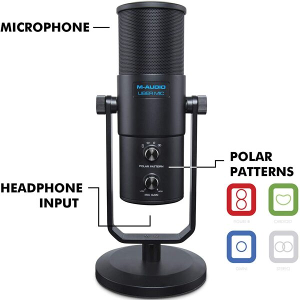 M-Audio Uber Mic | Professional USB Microphone with Headphone Output & 4 Selectable Polar Patterns